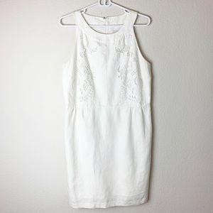 LOFT white linen blend sleeveless dress